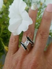 Graduating Natural Black Spinel & Topaz Bypass Ring, Sterling silver, Size 8