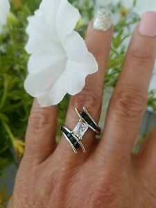 Emerald Cut White Topaz & Black Spinel  Bypass Ring, Sterling silver, Size 7