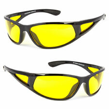Hd Sport Night Driving Sunglasses High Definition Vision Yellow Wrap Glasses New