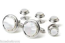 NEW Men's Mother of Pearl Diamond Cut Silver Trim Cuff Links & Studs Box Set
