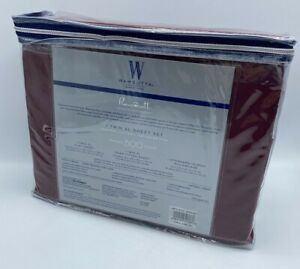 Wamsutta 500 Thread Count TWIN Sheet SET 100% Pima Cotton Solid Burgundy New