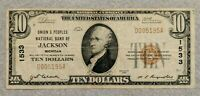 1929 $10 National Currency Bank of Jackson Michigan Charter 1533 Bill/Note