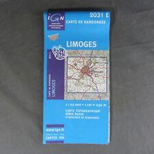 Carte IGN 2031 E - Série Bleue - Limoges ( Haute-Vienne )