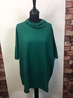 Womens Green Top Blouse Short Sleeve Junarose Neck Style Loose Fit Size XLarge