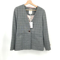 NWT Ted Baker London Collarless Check Jacket houndstooth rista blazer 2 1-button