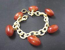 Vintage 1940's Bakelite Footballs Celluloid Charm Bracelet