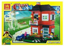 House Building Blocks Bricks -City Inn Red- Wange