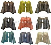 BOHO CROCHET STYLE BUTTONED KNIT SHRUG CROP CARDIGAN MESH FREE SIZE UP TO 26