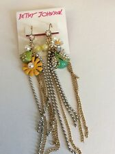 Betsey Johnson  Flower Child Faux Pearl Mismatch Earrings $55 #109