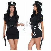 Halloween Officer Naughty Costume Police Woman Uniform Fancy Dress Outfit Night