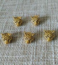3PCS Gold leopard head Charm Alloy  Beads fit European Bracelet& Necklace