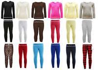 Girls Long Sleeve Crew Neck Plain Top Kids T-Shirt and Leggings Age 2-13 Years
