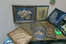 Lot of 9 Vintage Embossed Copper Relief Picture Eagle - Horse - Fish - Aztec