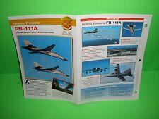 GENERAL DYNAMICS FB-111A AIRCRAFT FACTS CARD AIRPLANE BOOK 140