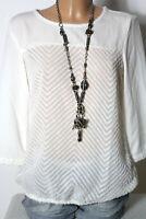 s.Oliver Bluse Gr. 36 creme-weiß 3/4-Arm Chiffon Hüft Bluse/Tunika Plüsch Muster