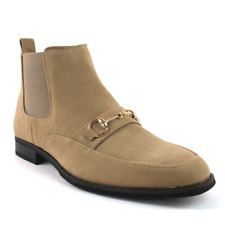Tan/Beige Suede Men's Chelsea Boots With Gold Buckle Side Zipper Closure BY AZAR