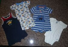 LOT 18m BOY BABY Rompers Pajamas Onesie Construction Sports CARTERS Gerber GUC