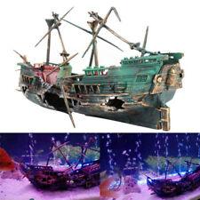 Aquarium Fish Tank Cave for Wreck Sunk Boat Air Split Shipwreck Ornament Decor