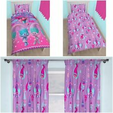 """SINGLE BED GIRLS TROLLS GLOW DUVET COVER BED SET & MATCHING 66"""" X 72"""" CURTAINS"""