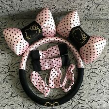8pcs Pink Dots Hello Kitty Universal Car Interior Accessories