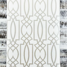 York Gray Lattice Watercolor Geometric Modern White Trellis Charcoal Wallpaper