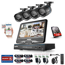 "SANNCE 8CH 1080N 4in1 DVR 10.1""Monitor In/Outdoor IP66 Security Camera System 1T"