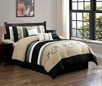 DCP 7Pcs Oversized Embroidery Bed in Bag Microfiber Comforter Set Black Tan King