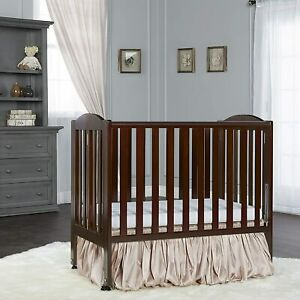 New! Dream On Me 2-In-1 Folding Stationary Side Crib - Espresso