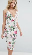 Oh My Love Floral Midi Dress With Frill Bust