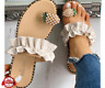 Pineapple Pattern Toe Ring Frill Hem Casual Sandals Fashion Sandals MY