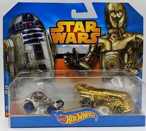 R7 Hot Wheels  Star Wars 2 pack R2-D2 & C-3PO VW gold Drag Bus NIP