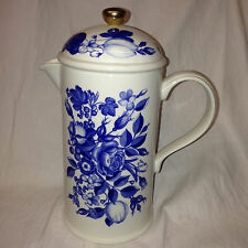 PORTMEIRION HARVEST BLUE CAFETIERE & PRESS 8 CUPS BLUE FLOWERS ANGHARAD MENNA
