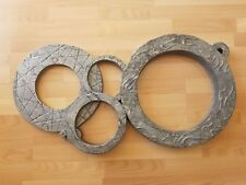 Big 38 inches Mid Century Modern Brutalism Style Cast Aluminum Circle Sculpture