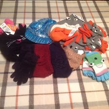 Kids Girl's hats and gloves mix lot new glitter shark cat