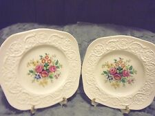 SET OF TWO SQUARE WEDGE WOOD PATRICIAN FLORAL PLATES WITH STANDS......B-100