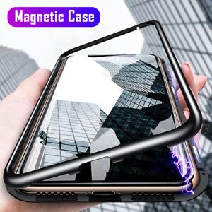 360° Magnetic Adsorption Flip Metal Frame Phone Case Back Tempered Glass Cover