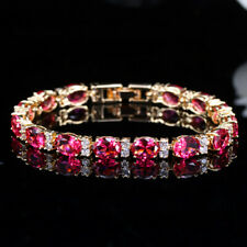 Zirconia Connected Bracelets for Women Cwwzircons Gold Round Fuchsia Red Cubic