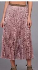 Free People Anthropologie Womens Skirt 8 Pink Pleated Lace Midi