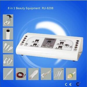 8 in1 High Frequency Vacuum Rotary Brush Facial Machine Galvanic Spray Spa Care