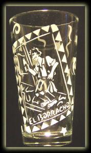 Mexican Loteria El Borracho Drunk Art Clear Pint Glass