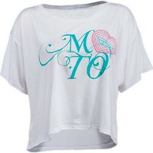 NOS FLY RACING 356-0214M MOTO LOVE CROP T-SHIRT WHITE SIZE WOMENS MD