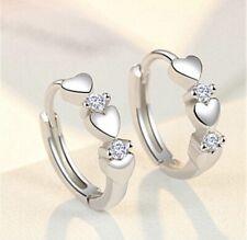 925 Sterling Silver Triple-Heart CZ Cubic Zirconia Huggie Hoop Earrings