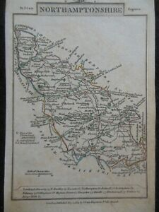 Small J Cary County Map Northamptonshire Map (1792) Hand Coloured , England
