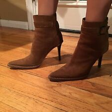 Women Gucci Brown Suede Ankle Boots Size 37 1/2C