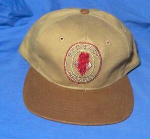 RED BACK TAN EMBROIDERED HAT BASEBALL CAP  *VINTAGE