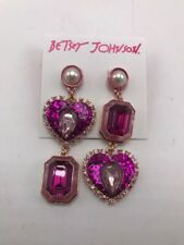 $52 Betsey Johnson rose goldtone pk stone glitter heart mismatch drop earring M7