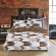 Brown Checked Quilt Duvet Cover Set Single Size Bedding Set Doona Covers AU