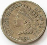 1859 Indian Head Penny / Small Cent in SAFLIP® - AU- (XF+)
