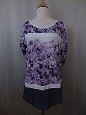 Style & Co Petite Floral Print Woven Hem Knit Top PXL Indigo Iris #2470
