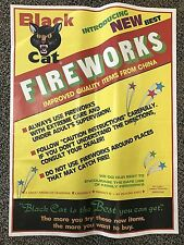 RARE Vintage Li & Fung BLACK CAT Fireworks POSTER Variant firecrackers 17x23""
